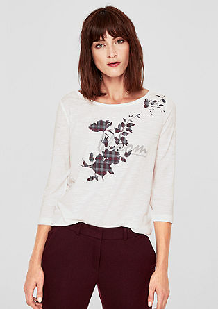 Slub Yarn-Shirt mit Statement-Print