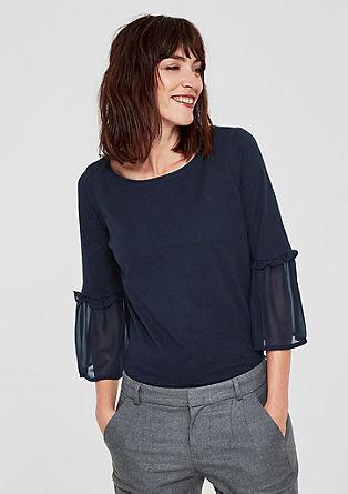 Majica iz džersija z rokavi z volančkom