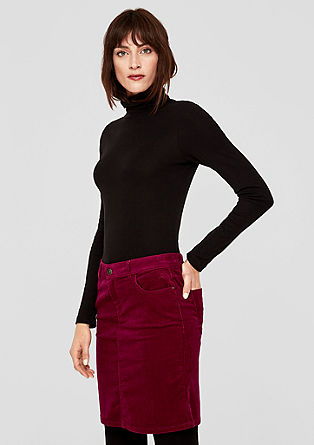 Slim fit skirt in stretchy needlecord from s.Oliver
