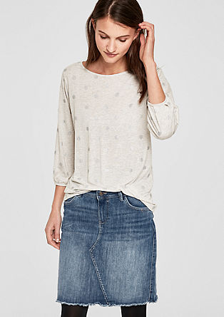Short denim skirt with fringed hem from s.Oliver