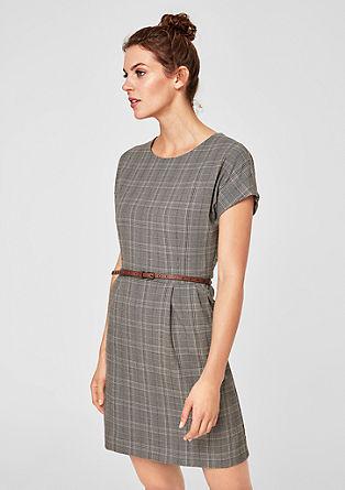 Glencheck-Kleid mit Gürtel