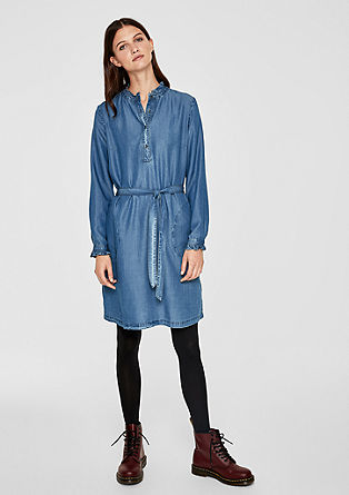 Lightweight denim dress with frills from s.Oliver