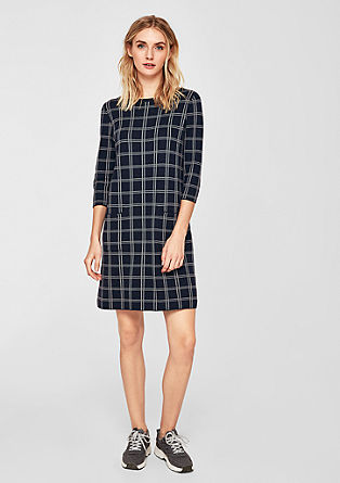 Knitted dress with jacquard lattice checks from s.Oliver