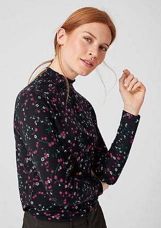 Blouse top with a smocked stand-up collar from s.Oliver