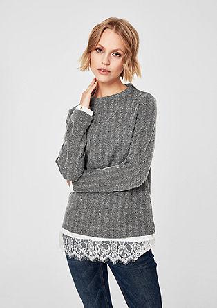 High Neck-Sweater mit Manschetten