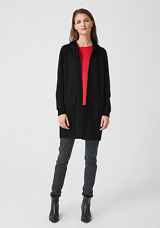 Sweatshirt jacket with rib knit accents from s.Oliver