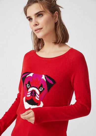 Motiv-Strickpullover mit Wolle