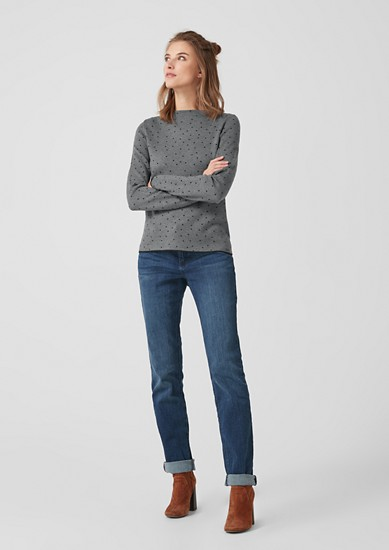 High Neck-Pullover mit Muster