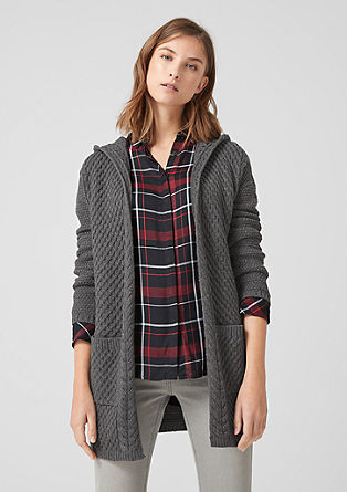 Cardigan with a hood and a textured pattern from s.Oliver