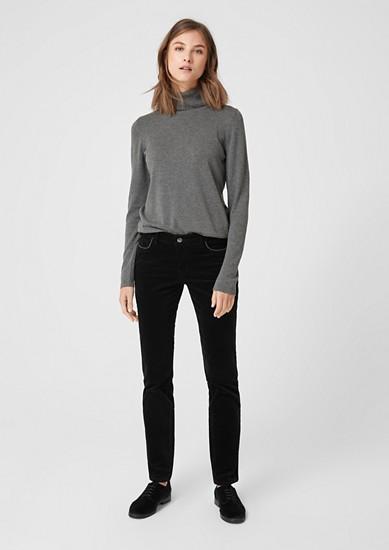 Shape Slim: stretch velvet trousers from s.Oliver