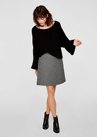 Wool blend skirt with a houndstooth pattern from s.Oliver