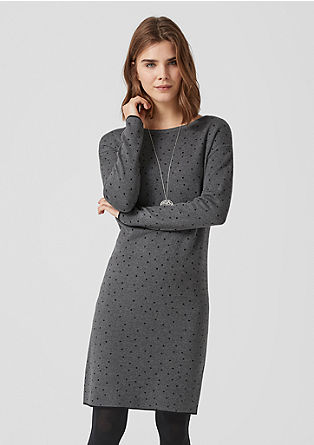 Polka dot knitted dress with wool from s.Oliver