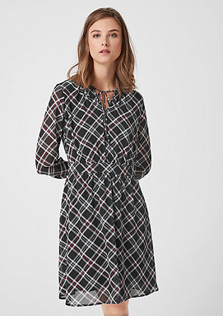 Check shirt dress in chiffon from s.Oliver