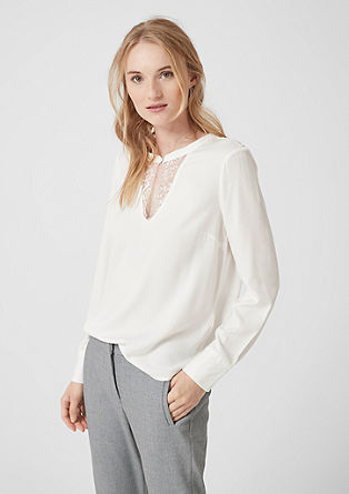 Twill blouse met kant