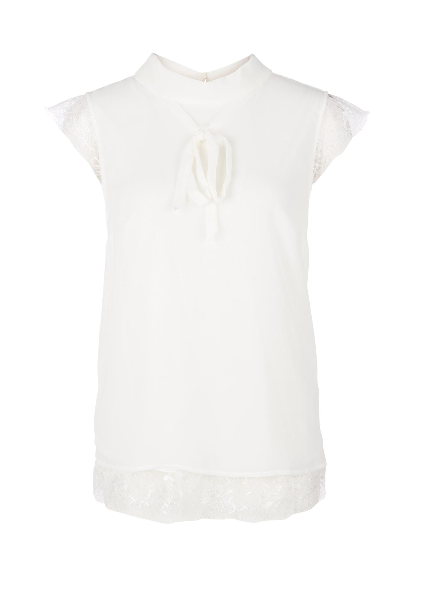 Chiffon-Blusentop | Bekleidung > Blusen > Chiffonblusen | Weiß | Obermaterial 100% polyester| spitze 100% polyamid| futter 100% viskose | s.Oliver
