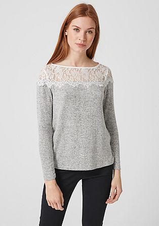 Tričko s dlouhým rukávem s krajkovým sedlem