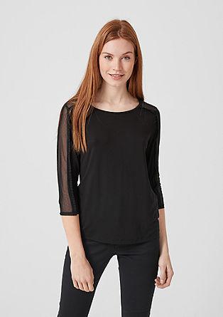 Jerseyshirt Mesh-Einsatz und Rüschen