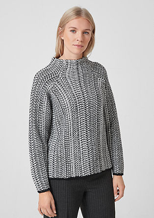 High Neck-Pullover in Strukturstrick