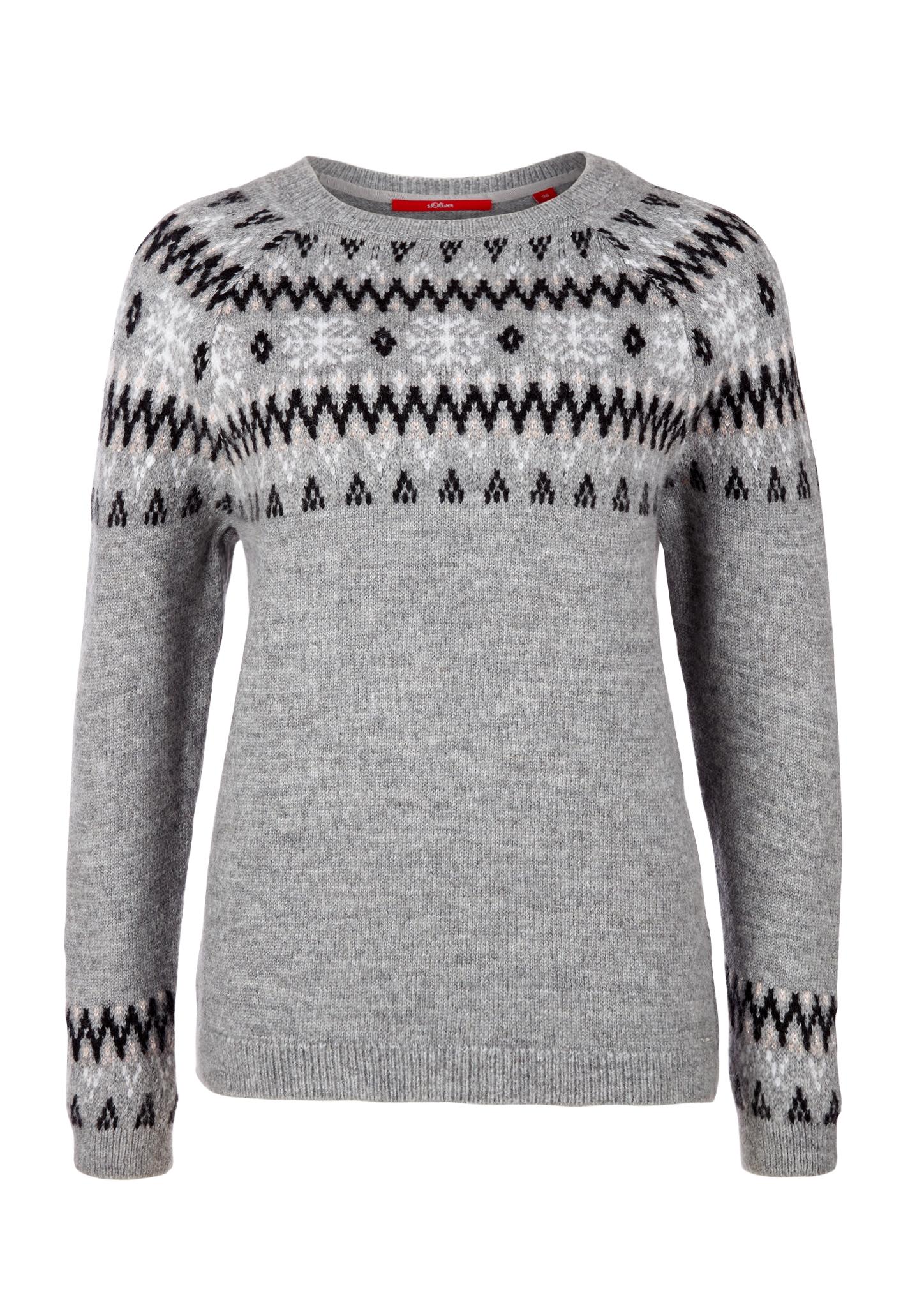 Norweger-Pullover | Bekleidung > Pullover > Norwegerpullover | Grau | 66% polyacryl -  27% polyester -  7% wolle | s.Oliver