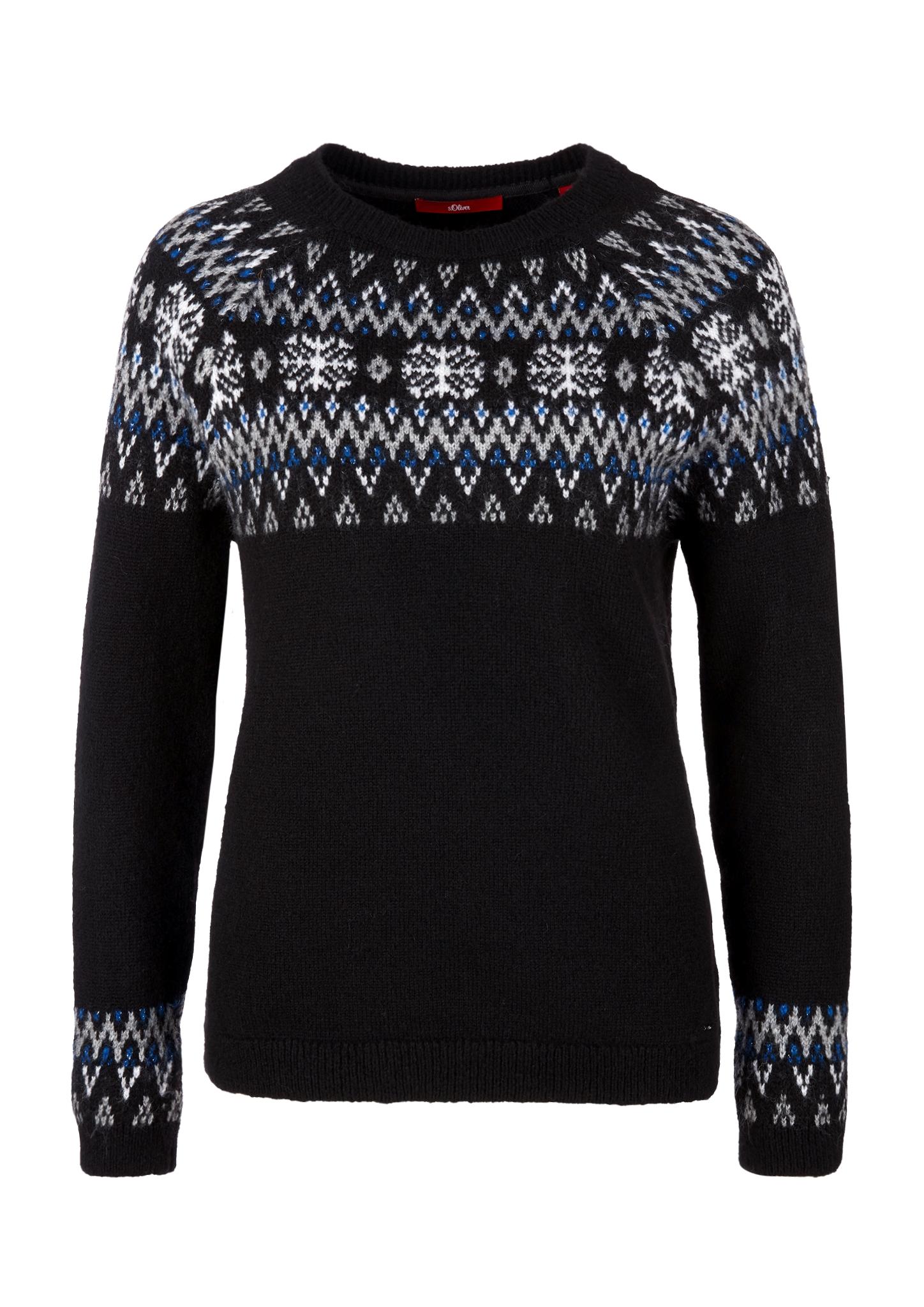 Norweger-Pullover | Bekleidung > Pullover > Norwegerpullover | Schwarz | 66% polyacryl -  27% polyester -  7% wolle | s.Oliver