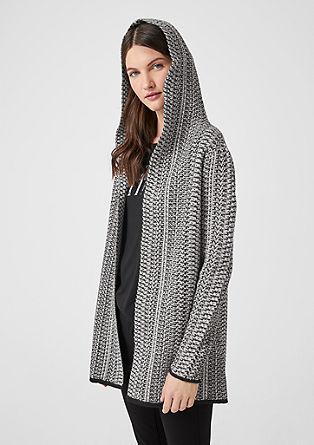 Vzorovaný pletený kabátek skapucí