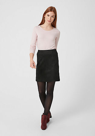 Panelled short suede skirt from s.Oliver