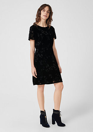 Velvet dress with a burnt-out floral pattern from s.Oliver
