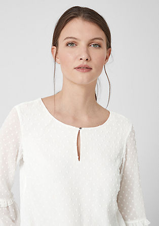 Dobby blouse with flounce sleeves from s.Oliver