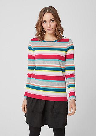Tričko s dlouhým rukávem sproužkovaným vzorem