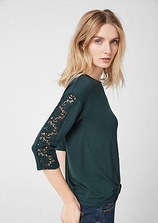Jerseyshirt mit Spitzeneinsatz
