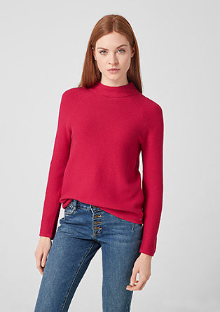 Textured knit jumper with a stand-up collar from s.Oliver