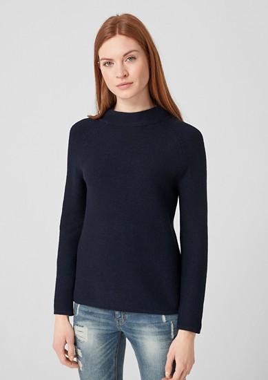 Strukturstrick-Pullover mit Stehkragen