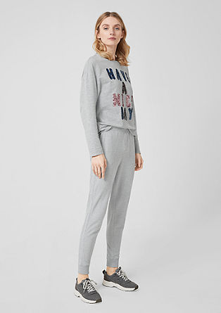 Tracksuit bottoms with glitter stripes from s.Oliver