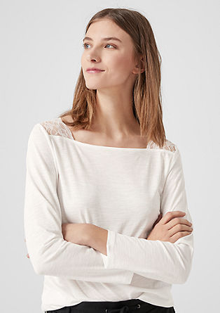 Long sleeve top with a lace yoke from s.Oliver
