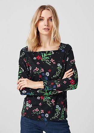 Printshirt mit Carrée-Ausschnitt