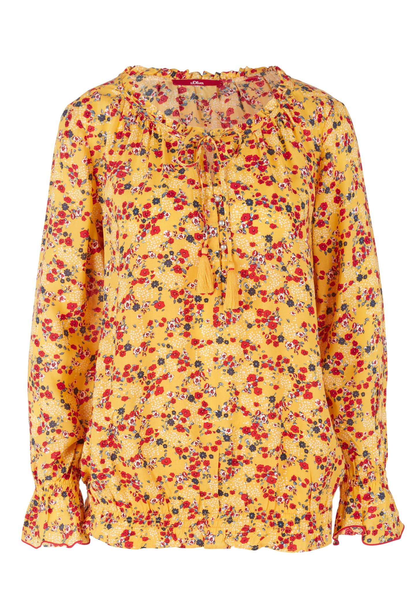 Rüschenbluse | Bekleidung > Blusen > Rüschenblusen | Gelb | 100% viskose | s.Oliver