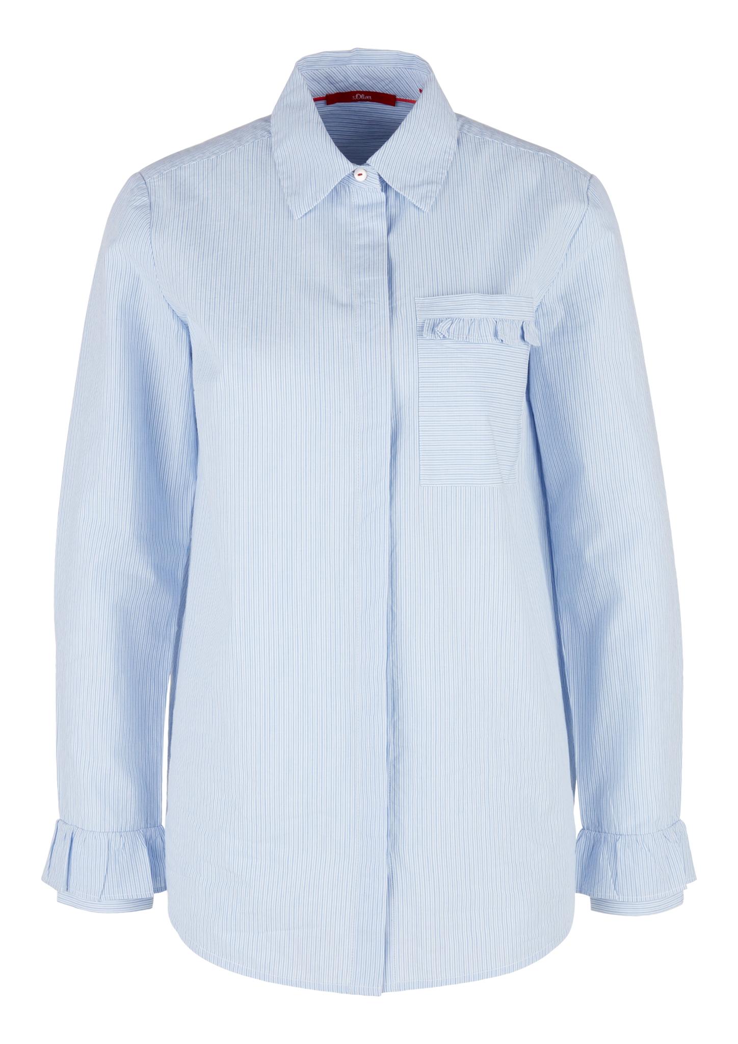 Rüschenbluse | Bekleidung > Blusen > Rüschenblusen | Blau | 100% baumwolle | s.Oliver