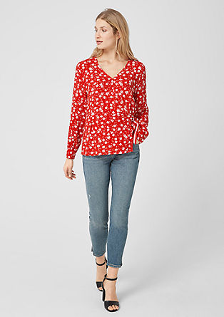 Fitted wrap blouse with a print from s.Oliver