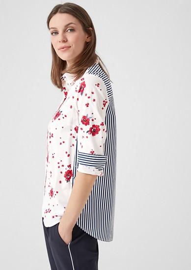 Popeline blouse van een materiaalmix
