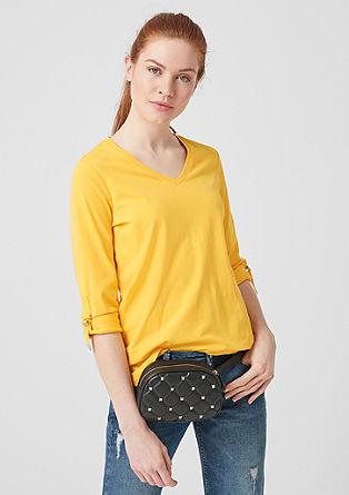 Shirt met V-hals en oprolbare mouwen