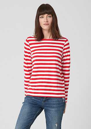 Long sleeve top with textured stripes from s.Oliver