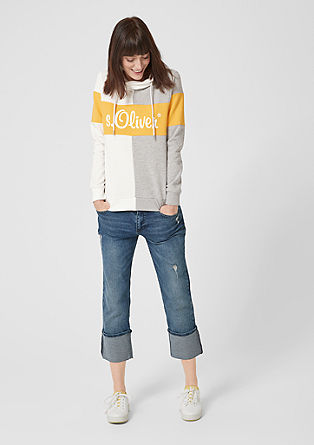 Label-Sweater mit Colourblock-Flächen