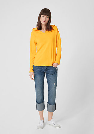 Textured sweatshirt with hood from s.Oliver
