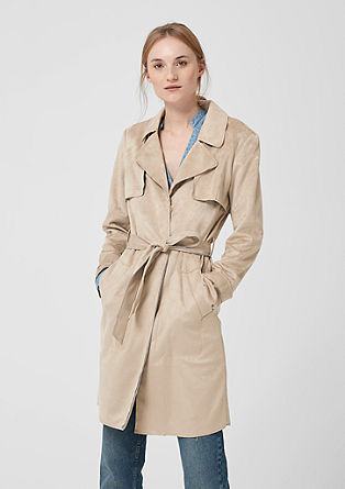 Trenchcoat in Veloursleder-Optik