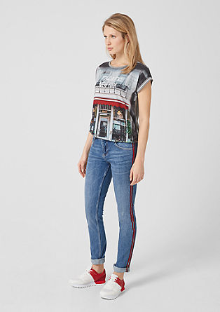 Shape Slim: jeans with tuxedo stripes from s.Oliver