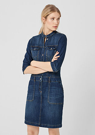 Denim dress with a stand-up collar from s.Oliver