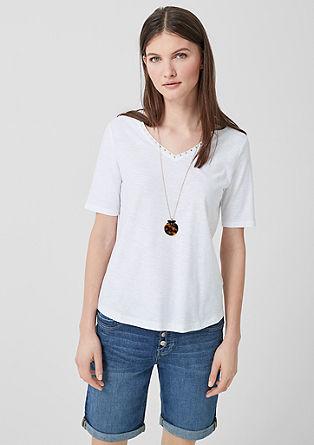 Tričko zžíhané příze, se špičatým výstřihem