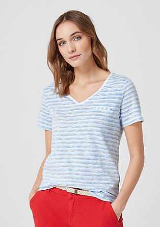 Shirt met slubeffect en strepen