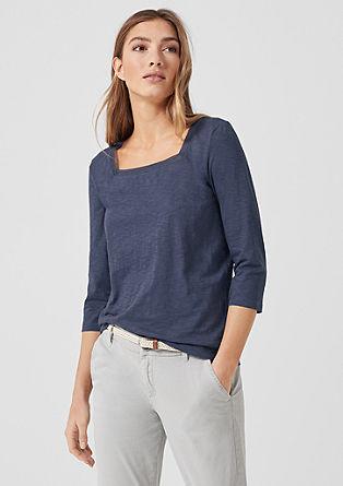 Slub Yarn-Shirt mit Carrée-Ausschnitt