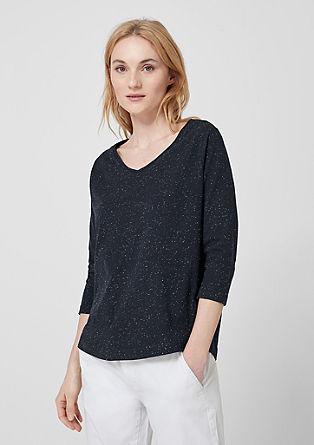 Shirt met 3/4-mouwen en spikkeleffect